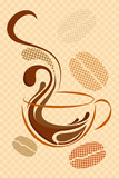 Fototapety vector illustration of cup of hot coffee on abstract background