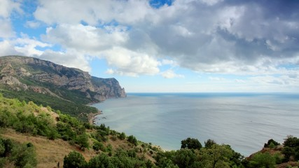 Movement of the clouds on the mountain bay Aya. Crimea, Ukraine