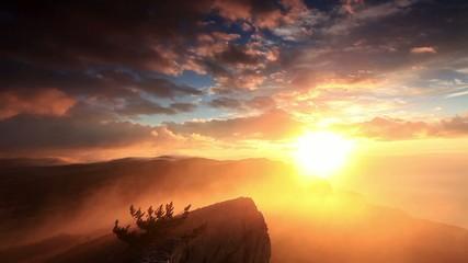 sunrise in the mountains Ai-Petri. Alupka, Crimea, Ukraine. FULL