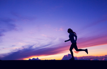 Female Runner Silhouette, Woman Running into sunset, colorful su