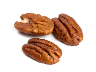 pecan nuts isolated on white background