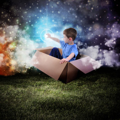 Space Boy in Box Touching Glowing Star