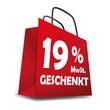 Icon Einkaufskorb 19% MwSt. Geschenkt Sale Rabatt Aktion