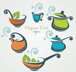 cooking equipment and organic food symbols