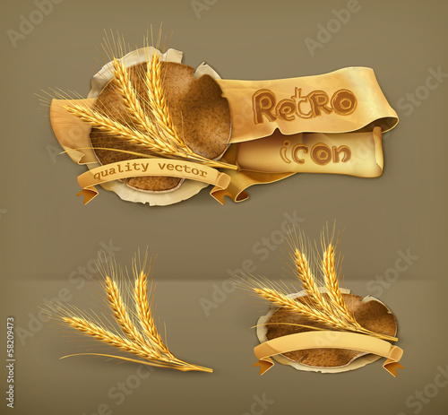 Ears of wheat, icon