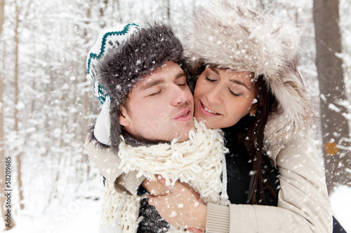 winter love couple