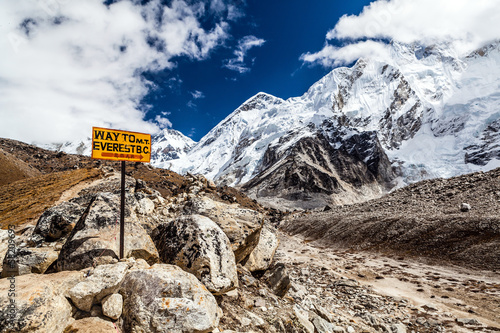 Foto op Canvas Nepal Mount Everest signpost