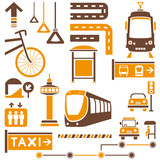 public traffic, transportation set, orange theme
