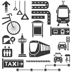 public traffic, transportation set