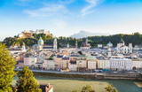 Salzburg skyline with river Salzach at sunset, Austria