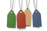 four colored paper tags with shadow on white background
