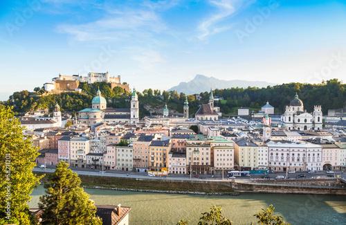 Salzburg skyline with river Salzach at sunset, Austria