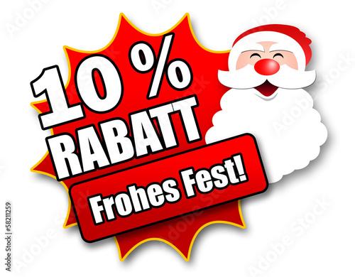 "Siegel ""10 Prozent Rabatt - Frohes Fest!"""