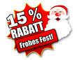 "Siegel ""15 Prozent Rabatt - Frohes Fest!"""