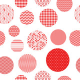 Red and white patterned circles geometric seamless pattern