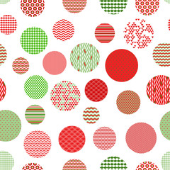Red green white patterned circles geometric seamless pattern
