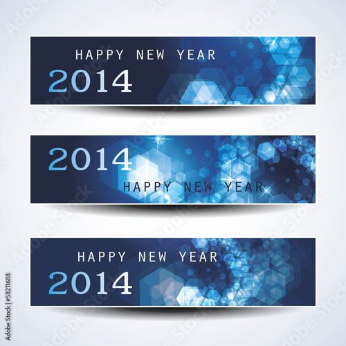Set of Horizontal New Year Banners - 2014