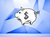 Piggy bank over blue abstract background