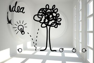Idea tree graphic in bright room