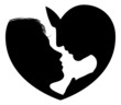 Couple faces heart silhouette
