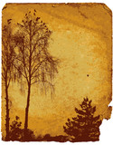 Old worn card with landscape