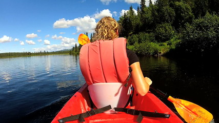 Female kayaking enjoying scenic forest lakeside, USA