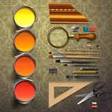 Group art supplies, vector Eps10 illustration.