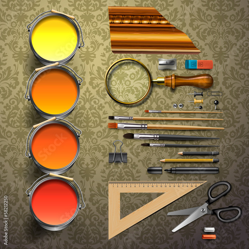 Group art supplies, vector Eps10 illustration.