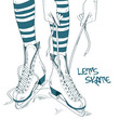 Illustration with female legs in skates