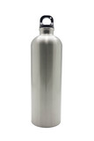 Stainless steel bottle on white background