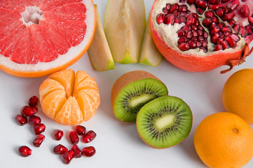 set of different tasty fruits
