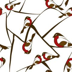 Seamless pattern of bullfinch birds