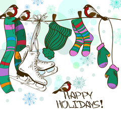 Winter illustration with hanging skates and clothes