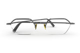 Metal frame eye glasses isolated on white background