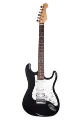 black and white electric guitar isolated on white