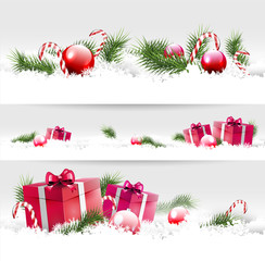 Set of three Christmas borders with gifts, balls and branches