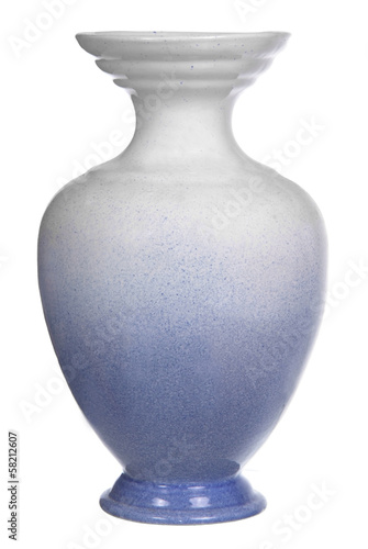 blue ceramic vase isolated on white