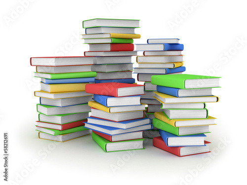 Vintage books in row, isolated in white , 3d
