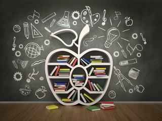 book shelf in form of apple and drawing concept, 3d