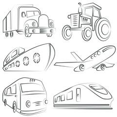 sketched car, truck set, transportation