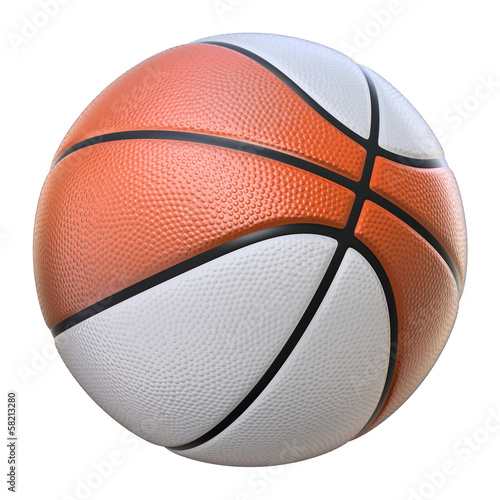Red-white basketball isolated on a white background