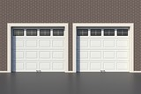 Two white garage door with windows