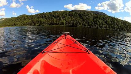 POV wide angled view kayak lake wilderness, USA