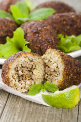 Kibbeh - Middle Eastern minced meat and bulghur fried snack