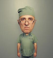dissatisfied bighead doctor in uniform