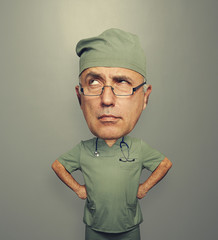 pensive doctor in glasses
