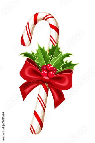 Christmas candy cane. Vector illustration.