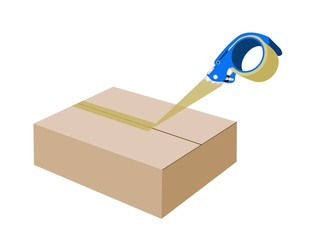 Adhesive Tape Dispenser Closing A Cardboard Box