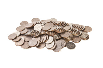 scattered coins on a white background