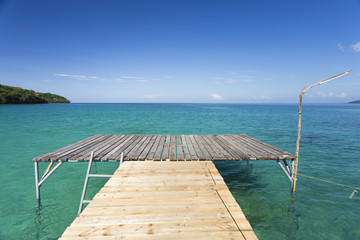 Wooden bridge of Analay resort in Kood island
